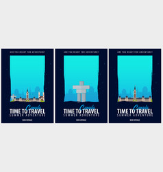 Set of posters travel to canada journey trip and vector