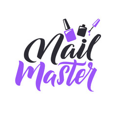 manicure studio nail master logo beauty vector image vector image