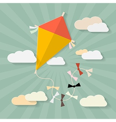 Retro Paper Kite on Sky with Clouds vector image vector image