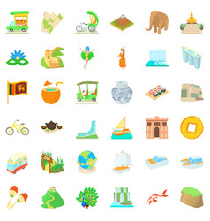Around the world icons set cartoon style vector