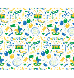 brazilian carnival seamless pattern with mask vector image