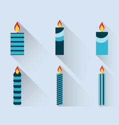 christmas candles in a flat design with long vector image vector image