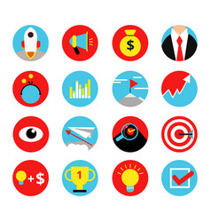 concept retro icon set of business startup vector image vector image