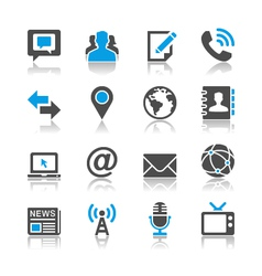 Media and communication icons reflection vector image vector image