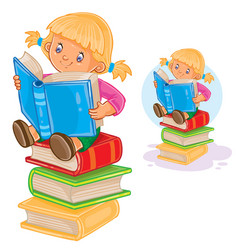 little girl is sitting on a pile of books and vector image