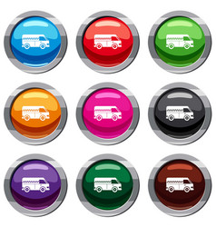 minibus taxi set 9 collection vector image