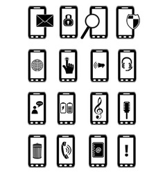 Mobile phones icons set vector image
