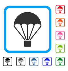 parachute framed icon vector image vector image