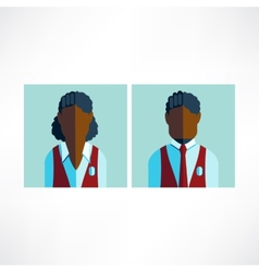 schoolboy and schoolgirl African icon flat vector image