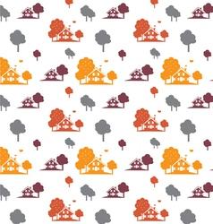 seamless autumn village vector image