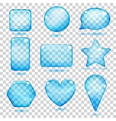Transparent blue glass shapes vector