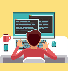 young man programmer working on computer with code vector image