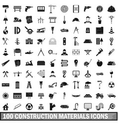 100 construction materials icons set simple style vector image