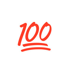 100 hundred emoticon icon 100 emoji score vector image
