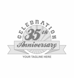 35 th anniversary grey shine background vector