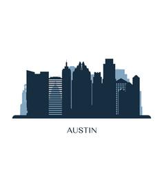 Austin skyline monochrome silhouette vector