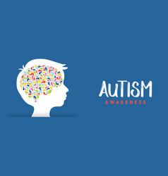 Autism awareness day boy head color brain banner vector