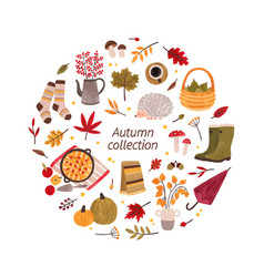 autumn hand drawn collection vector image