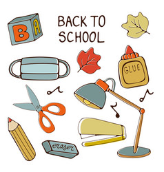 Back to school colorful hand drawn collection vector