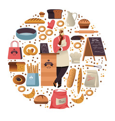 bakery bread making and selling shop vector image