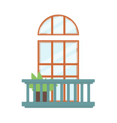 balcony decor with wooden doorway and plant flat vector image