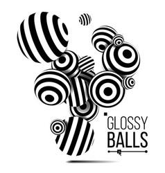 balls black lines three dimensional 3d vector image