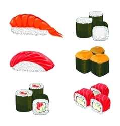 Banner of asian rolls with white rice vector