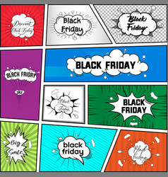 Black friday comic style bubbles banners vector