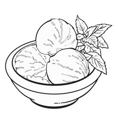 Bowl of matcha tea ice cream scoops vector