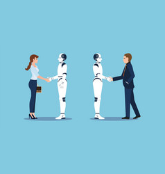business handshake with business human and robot vector image