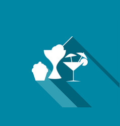 Cake ice cream and cocktails icons vector