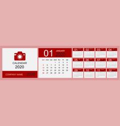 calendar 2020 desk calendar template set 12 vector image