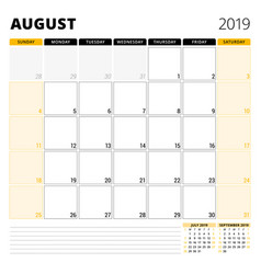 calendar planner for august 2019 stationery vector image