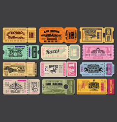 Car and horse racing retro tickets vector