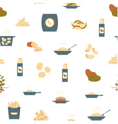 cartoon color potato seamless pattern background vector image