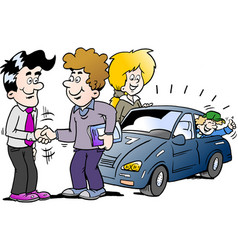 cartoon of a family there has agreed a deal to vector image