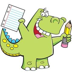 Cartoon Student Dinosaur vector image