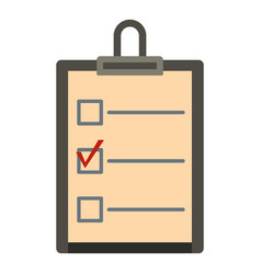 Checklist with box and red mark icon isolated vector