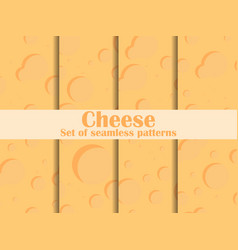 Cheese texture seamless pattern set surface vector