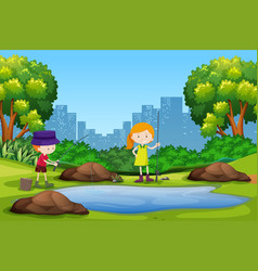 children fishing in the park vector image