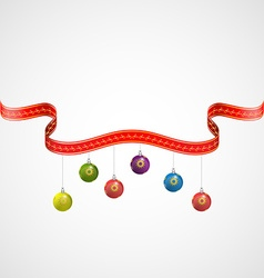 Christmas balls decoration with red golden ribbons vector image