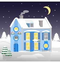 christmas house on a background winter night vector image