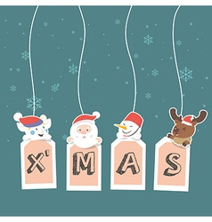 Christmas label with holidays greeting vector
