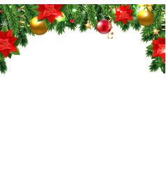 christmas poinsettia and fir tree vector image