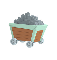 Coal mine trolley mining industry concept cartoon vector