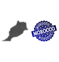 Collage of halftone dotted map of morocco and vector