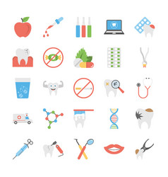 Collection of flat dental icons vector