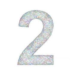 Colorful sketch font design - number 2 vector