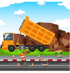 construction site with man and tractor vector image