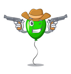 Cowboy green balloon cartoon birthday very funny vector
